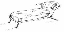 Se corta por la mitad la bañera ,se pule o se pone unos protectores en la toda la esquina o achaflanada y en la base se ponen un colchon para sofa y cojines y las cuatro patas de diferentes estilos.
